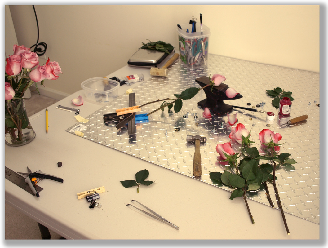 Photograph of a studio set-up of a diorama setting