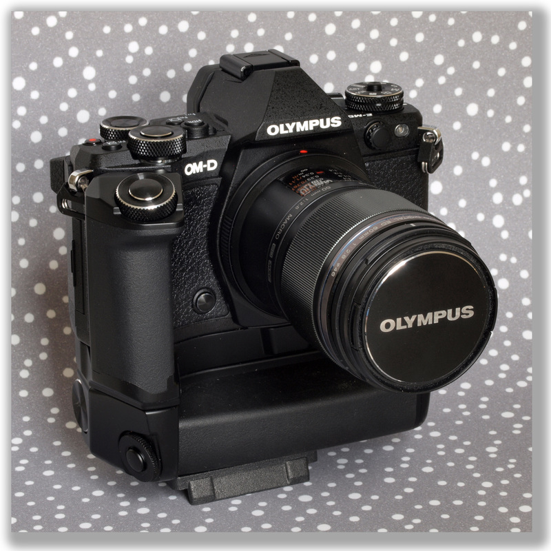 Photograph of an Olympus mirror-less OM-D E-M5-Mark II with a 60mm
