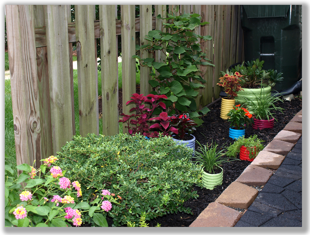 Photograph of a fun colorful garden planter project