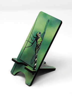 phone stand with green dragonfly
