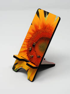 Phone stand showing sunflower close up